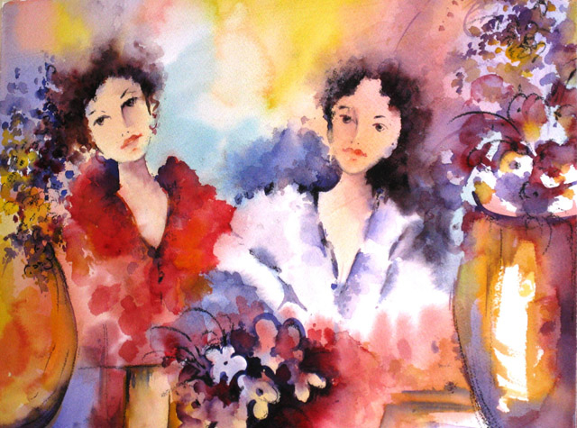 SISTERS AT A CAFE - SOLD