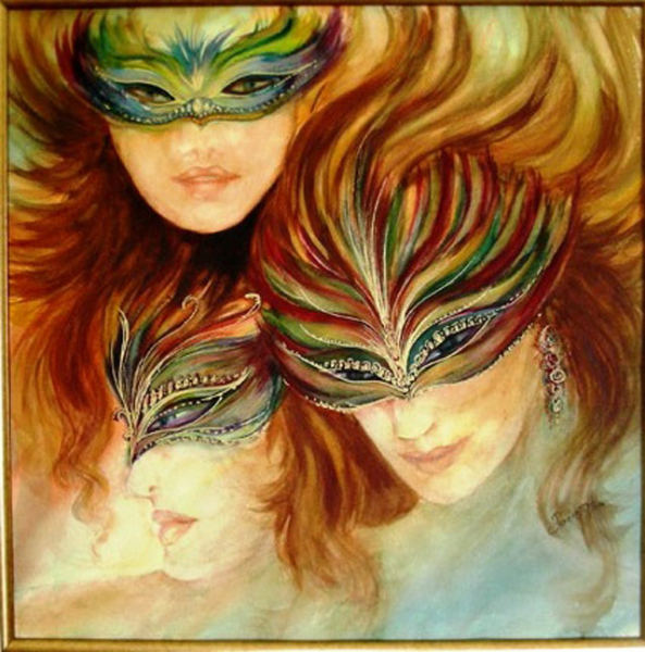 Venetian masks -SOLD