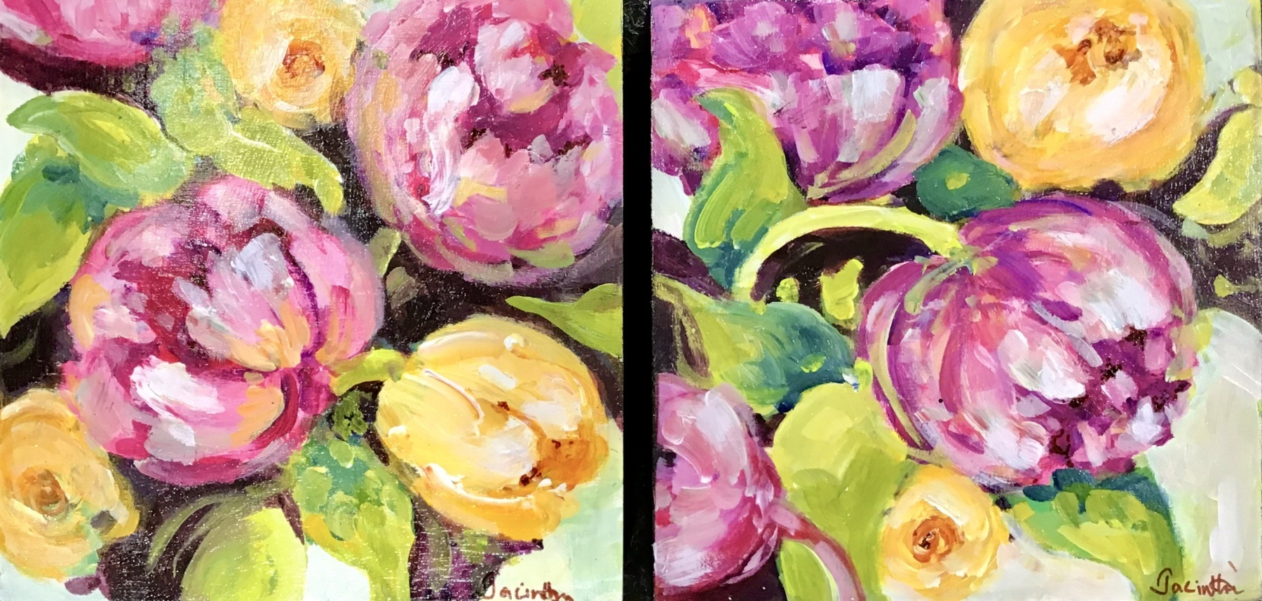 PEONIES IN PINK (diptych)