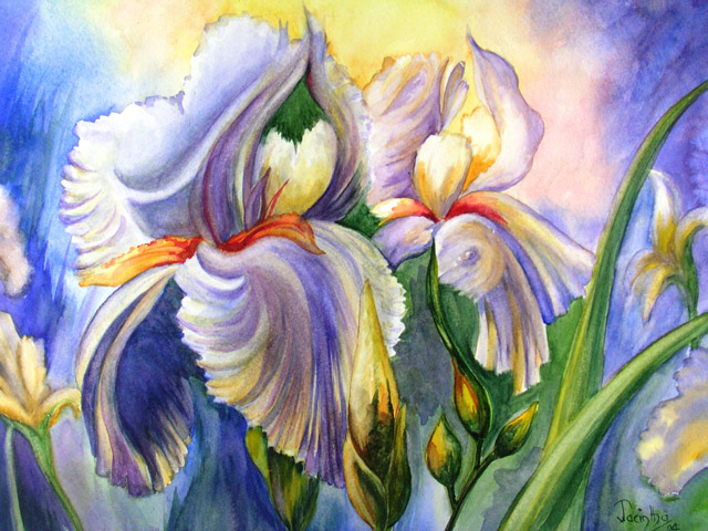 SOLD- BLUE IRISES IN THE SUN