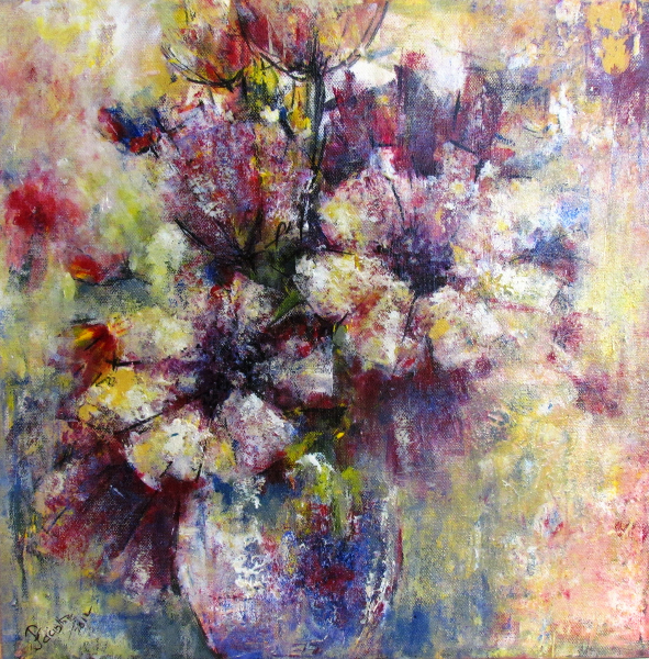 FLOWERS IN BLUE VASE - SOLD