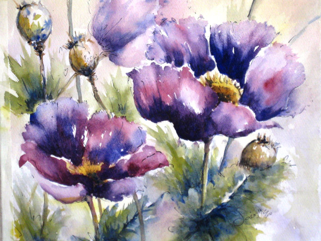 POPPIES IN PURPLE - SOLD