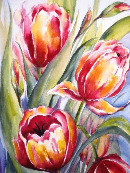 TULIPS IN RED - SOLD