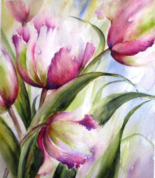 TULIPS AND DEWROPS 1 - SOLD