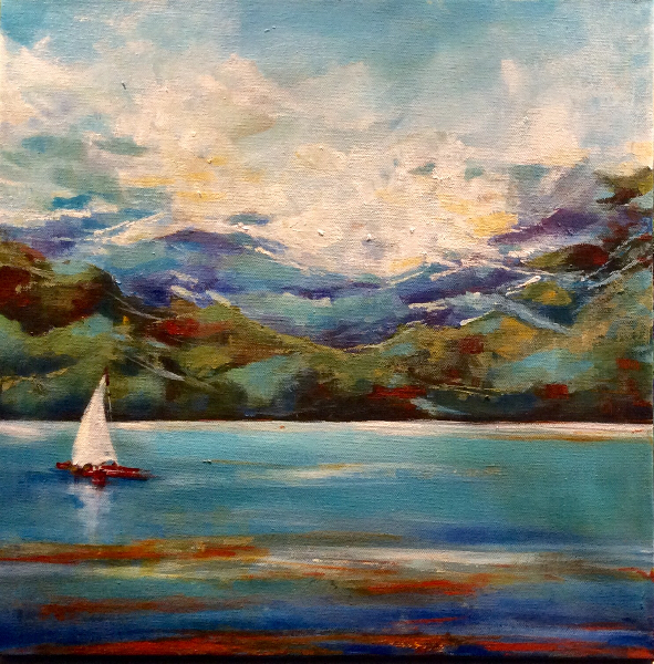 SOLD- WHITE SAILS ON AZURE BLUE WATER
