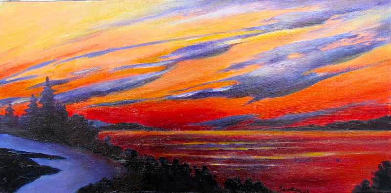 SUNSET OVER ST. JOHN'S RIVER NB - SOLD