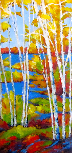 WHITE BIRCHES AND BLUE WATER - SOLD