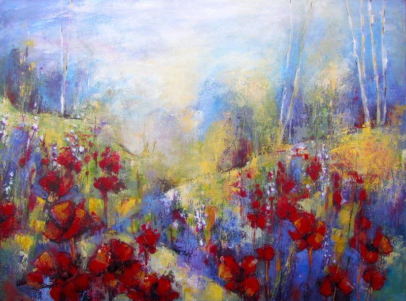 RED POPPIES AND BLUE SKIES -SOLD