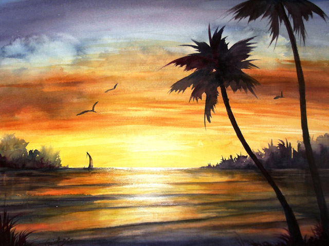 TROPICAL SUNSET - SOLD
