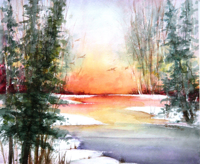 WINTER SUNSET - SOLD
